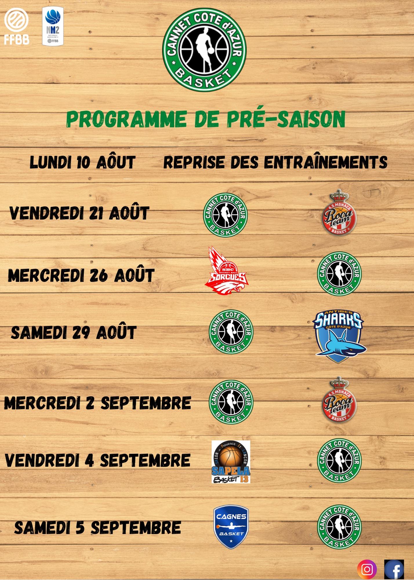 Programme de Pré-saison NM2